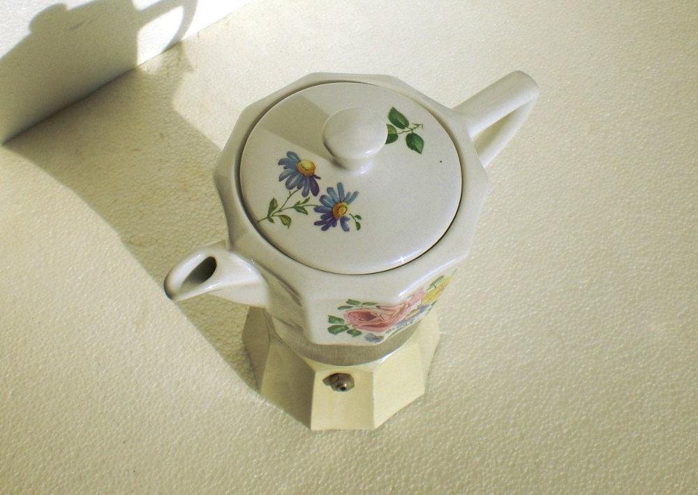 Italian espresso maker in floral ceramic moka espresso stove