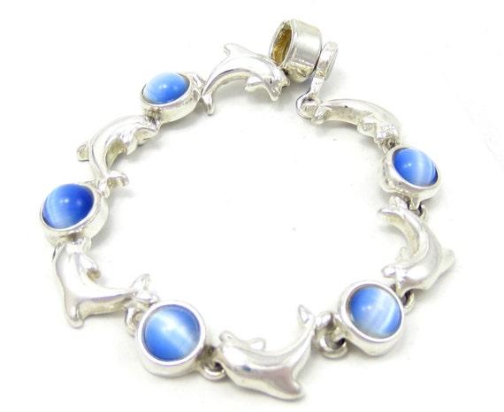 Blue moonstone cat eye dolphin silver tone magnetic bracelet 8 for Cat s eye moonstone jewelry