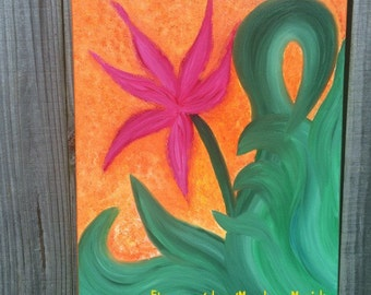 "Energy painting ""Hope"" oil painting orange magenta green leaves Vibrant Artwork by Sapphire Moonbeam"