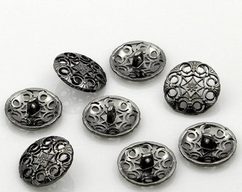 Metal Filigree Buttons. Silver Tone. 18mm. Nickel Free. Ideal for Sewing Knitting Scrapbook and other craft projects