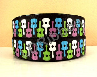 "1"" Guitars Grosgrain Ribbon"