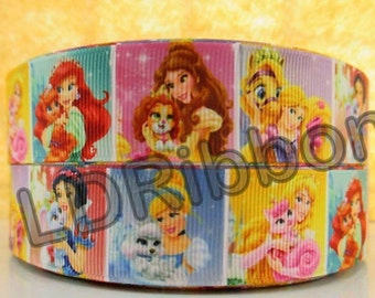 "1"" Princess & Puppy Grosgrain Ribbon"