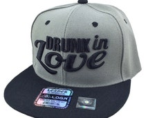 Flat Bill Snapback Hip 3D DRUNK IN LOVE Surfboard Hip Hop Flawless Gray/Black