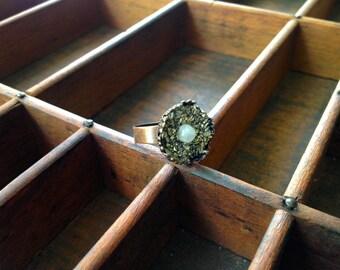 Moonstone Pyrite Crown Ring