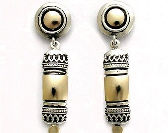Two-toned Silver and Gold Earrings with Oxidization