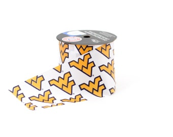 """2.5"""" West Virginia University Mountaineers Ribbon, NCCA ribbon  Offray College Ribbon - 9 FEET"""