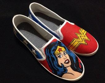 Wonder Woman Custom Painted Shoes
