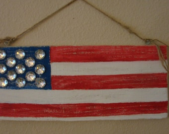 Rustic Patriotic Shabby Chic Red White And Blue Wood Plaque With Rhinestone Stars