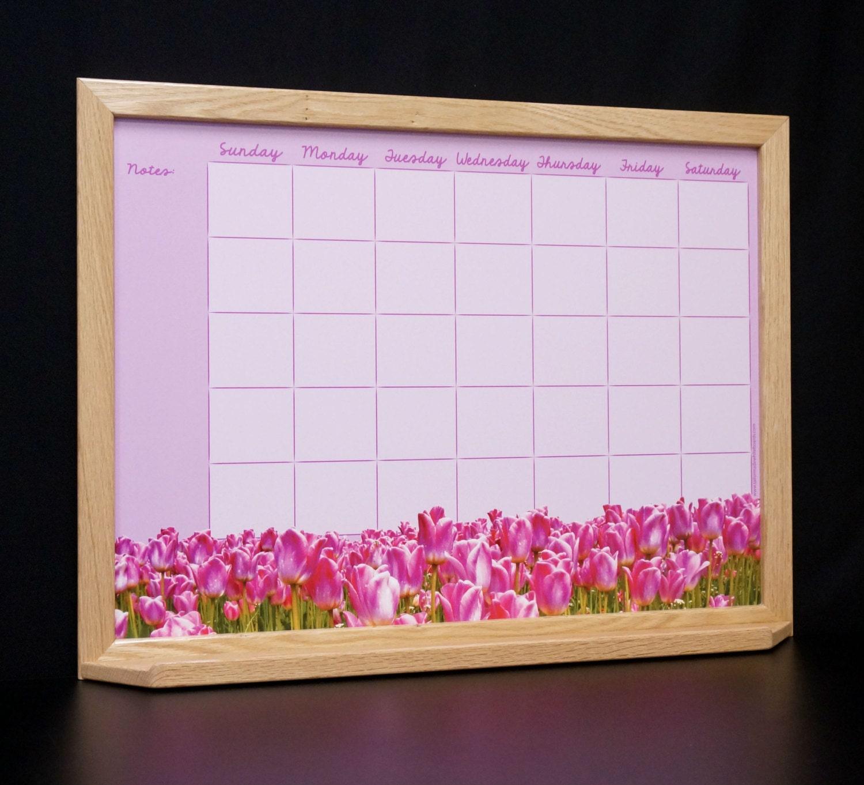 Custom Wood Framed Dry Erase Wall Calendar By