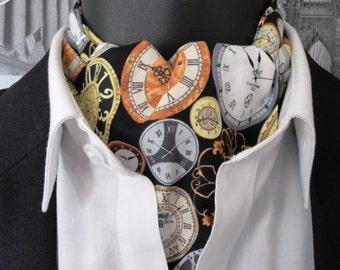 Cravat Clocks Print, Back in Time, Men's Cravat, reversible cravat