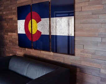 Colorado State Flag Wall Poster Art hanging Rustic