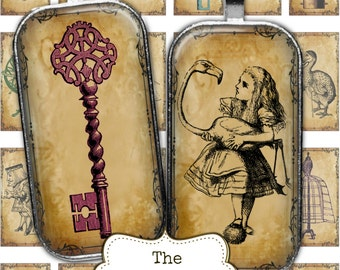 Steampunk Alice in Wonderland 1 x 2 Digital Collage Sheets Rectangle Dominoes Digital Images for Pendants Necklace