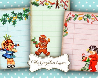 Vintage Christmas Digital Library Cards Digital Cards, 8 x Digital Printable Journaling Scrapbooking ATC Background