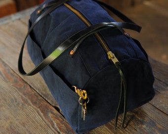 Indigo Wave Waxed Canvas Overnight Bag