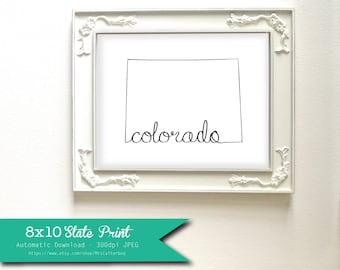 Printable Colorado State Art Print 8x10 Digital Wall Art Gift