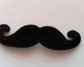 Mustache Black applique iron on patch
