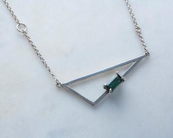 Single Stone Triangle Necklace