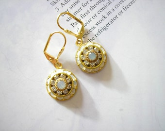 ON SALE - Vintage Swarovski Ethereal White Opal and Diamanté Crystal Dome Earrings Rare
