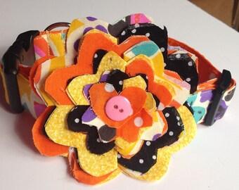 Orange Colorful Summer Dog & Cat Flower Collar