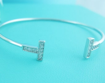 Cuff bracelet, cubic zirconia cuff bracelet, rhinestone bangle bracelet, bridal jewelry, wedding accessories, wedding jewelry, t bracelet