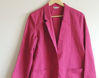 SALE - 15 dollars - Vintage BRENTLEY Pink Linen like jacket/blazer with single button and pockets, size 14, made in USA