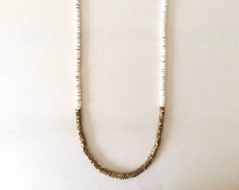 Shell and Brass Beaded Necklace in White / Modern Minimalist Jewelry