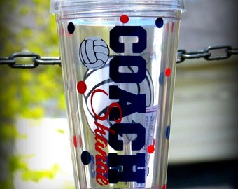 Personalized Volleyball coach tumbler, Volleyball Cups, Volleyball Team Tumbler, Personalized Volleyball