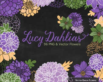 Lucy Dahlia Clipart & Vectors in Crocus - spring flowers, vector flowers, flower clipart, dahlia flowers, vector dahlias, dahlia clipart