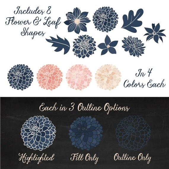 Lucy Dahlia Clipart Amp Vectors In Navy And Blush Navy And