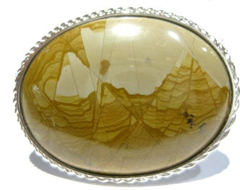 brooch silver stone paesina