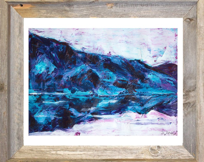 Lake House Decor-Mountain Art-Blue Wall Art-Landscape Painting-Original Watercolor Painting-Unique Gifts-Home Decor Gifts-Christmas Gift