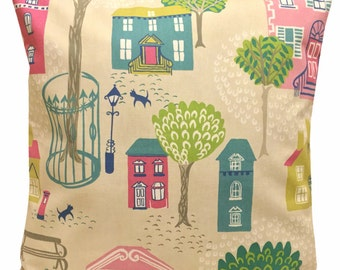 Sanderson Jubilee Square Pink & Blue Cushion Cover