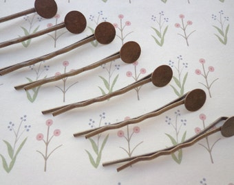 SALE--Bobby Pin--50pcs antique bronze Bobby Pins with 8mm Round Pad (44mm)