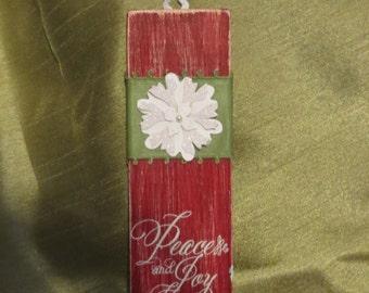 Peace & Joy hanging mini-plaque