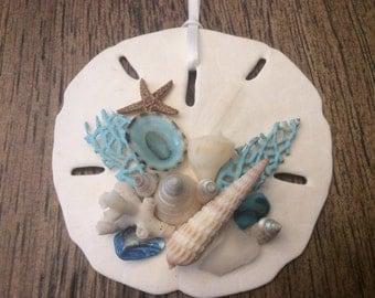Sand Dollar with shells ornament - Beach Decor