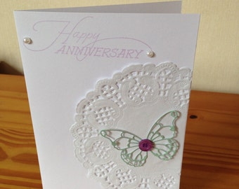 Butterfly paper doily anniversary card