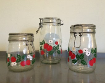 SALE Three Carlton Glass Strawberry Glass Hermetic Canisters