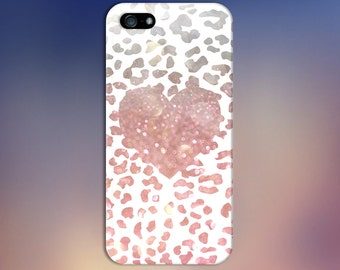 Pink Bokeh Cheetah Print x Heart Design Case for iPhone 6 6 Plus iPhone 7  Samsung Galaxy s8 edge s6 and Note 5  S8 Plus Phone Case