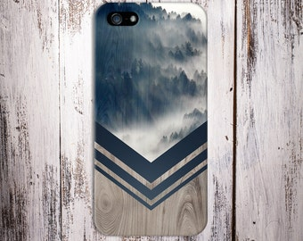 Mountain Fog Navy Chevron Wood Nature Case iPhone 7, iPhone 7 Plus, Rubber iPhone Case, Galaxy s8, Samsung Galaxy Case, Note 5, CASE ESCAPE