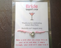 Personalised Hen party wish bracelets friendship bracelet hen charm lots of colours POSTAGE included