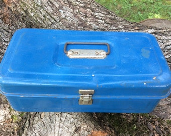 Vintage Blue Tackle Box Organizer Toolbox Stash Box