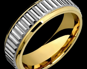 7mm Two-Tone Comfort Fit 10K Solid Gold (not plated) Wedding Band Fashion Ring