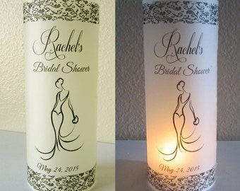 12 Personalized Bridal Shower Centerpiece table Decoration Luminaries