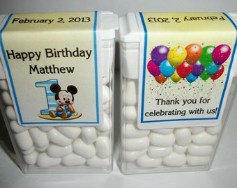 28 Mickey Mouse 1st Birthday Party Favors Tic Tac Labels ~ FREE SHIPPING