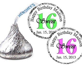 216 Sweet 16 Sixteen Birthday Party Favors Hershey Kiss Kisses Labels ~ FREE SHIPPING