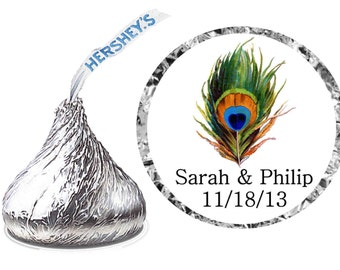 216 ~ PEACOCK Wedding Favors Hershey Kiss Kisses stickers Labels ~ FREE SHIPPING