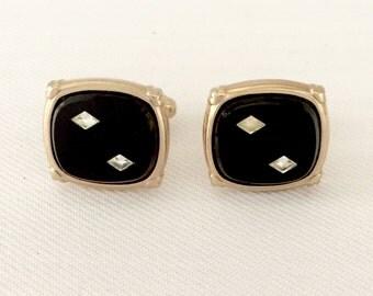 Retro Black Cuff Links- Vintage Glass & Inlaid Clear Mirror Diamond Shapes -Groom, Groomsmen, Gift, Formal Tuxedo Black Tie Wedding Retro