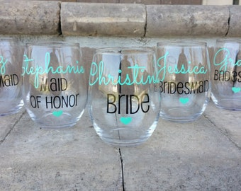 10 Personalized Bridesmaid Glasses, Bachelorette Party Glasses, Bridesmaid Gift