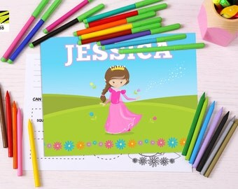 Kid's, Learning, Placemat, Children's, Activity, Laminated, Coloring, Princess, Color, ABC, Numbers, Learn to Write, Alphabet, Homeschool