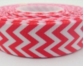 1 Metre of Pink and White Chevron Zig Zag Ribbon